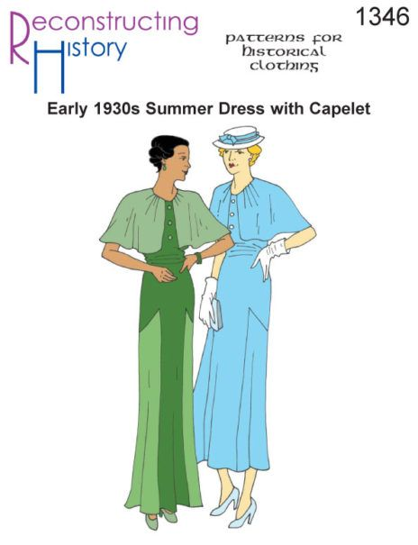 RH1346 — Early 1930s Summer Dress with Capelet