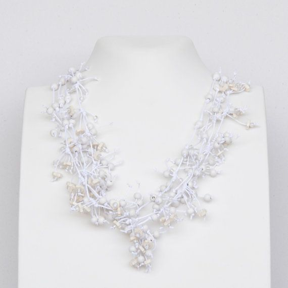 White multi stand necklace long necklace beaded by Cardoucci