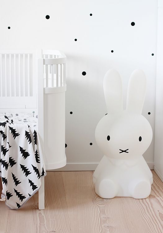 The Miffy lamp in a monochrome children's room - how can something so darn cute also be so stylish?! :: KOKO KIDS :: #monochromenurseries #miffylamp #kidslighting