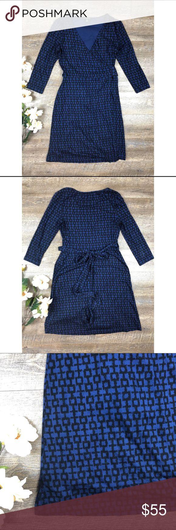 Banana Republic Wrap Dress Super cute blue Banana Republic wrap dress! In excellent condition. 50% rayon, 26% lyocell, 19% cotton, 5% spandex. Size S. E-18 Banana Republic Dresses