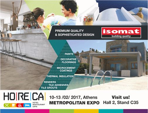 ISOMAT will participate for the second year in the HORECA Exhibition, which will take place at the Metropolitan Expo Exhibition Center in Athens, from 10-13 February 2017.