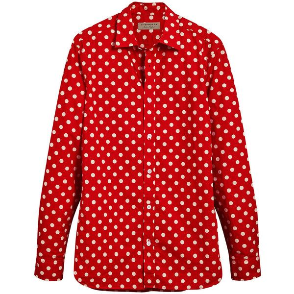 Burberry polka-dot shirt ($345) ❤ liked on Polyvore featuring men's fashion, men's clothing, men's shirts, men's casual shirts, red, mens button front shirts, mens long sleeve cotton shirts, mens extra long sleeve shirts and mens cotton shirts