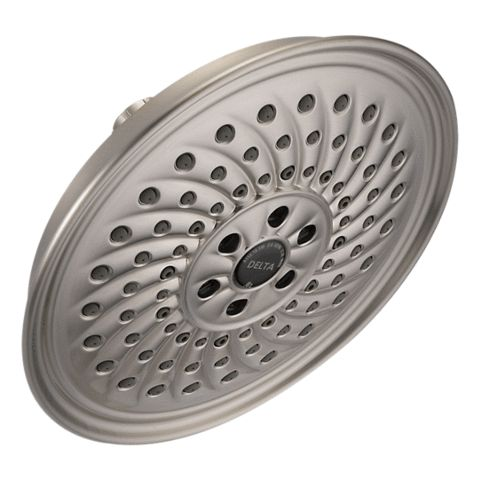 Delta Rain Shower Head With H2Okinetic Delta Rain Shower Head With H2Okinetic Review For a Delta Rain Shower Head, this is a great value. You get a large 8 inch face, a clean design, and pretty solid