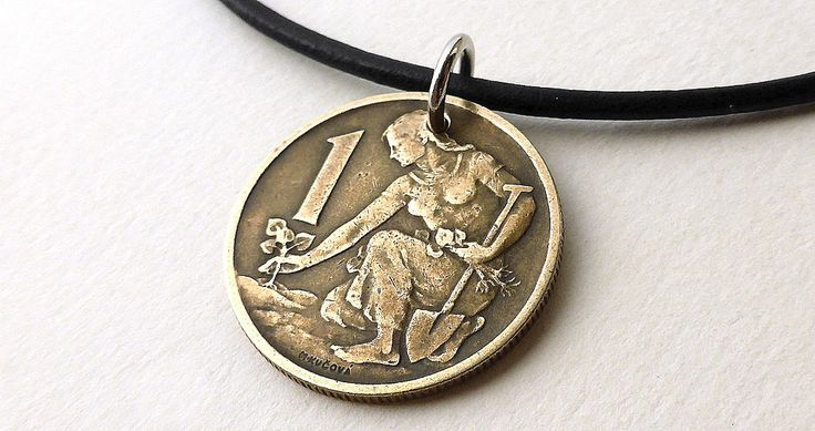 Czechoslovakian, Coin necklace, Gardening, Farming, Agriculture, Leather necklace, Coins, Bronze necklace, Vintage coin, Coin jewelry, 1967 by CoinStories on Etsy
