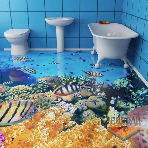 A Nova Moda Em Pisos De Casa De Banho Einrichtungs Ideen Badezimmer 3d Boden Epoxit Boden