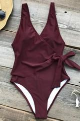 Elegant Dance Solid One-piece Swimsuit