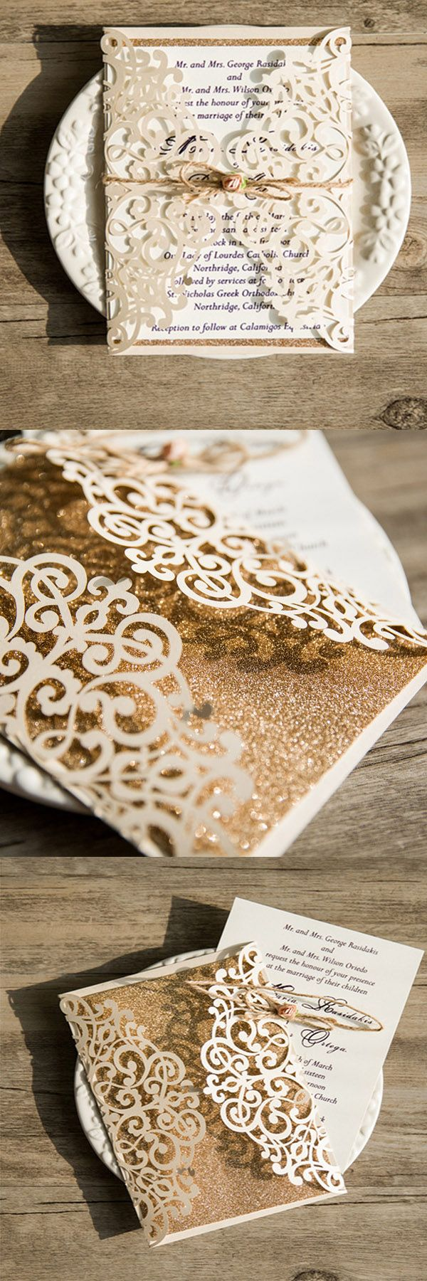 Glitter is still a hot commodity when it comes to vintage wedding, unique laser cut design with ivory color, choose this gold glitter wedding invitations if you want to wow your guests!#weddinginvitations#ElegantWeddingInvites