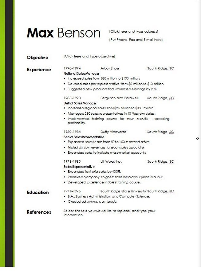 Resumes Templates Microsoft Word Template Resumes Templates