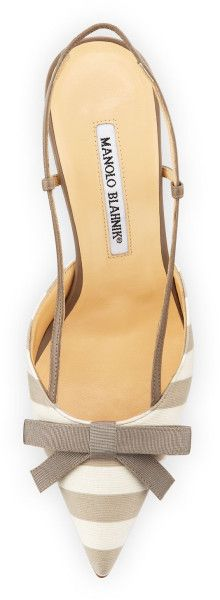 Manolo Blahnik Galop Striped Canvas Halter Pump Taupewhite in Gray (WHITE/TAUPE)