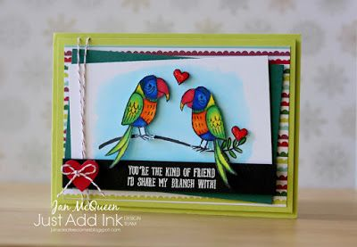 LOVE Valentines themed card featuring Stampin Up's Bird Banter for JAI #394 by Jan McQueen. More infor @ www.janscreativecorner.blogspot.com