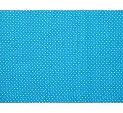 Bavlněné látky - modrá bavlněná látka puntík