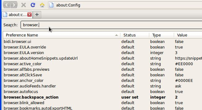 Searching for values in firefox's about:config list