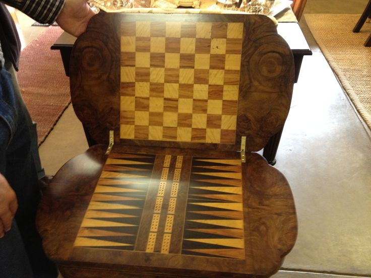 Gorgeous, fully restored chess table. We love restoring old or damaged pieces and returning them to their former glory!