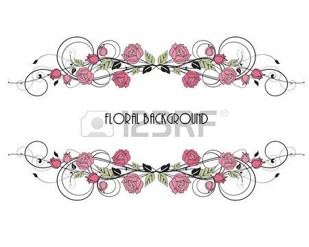 rozen decoratie op witte achtergrond Stockfoto