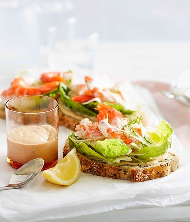 Open prawn sandwiches with anchovy mayonnaise - Gourmet Traveller