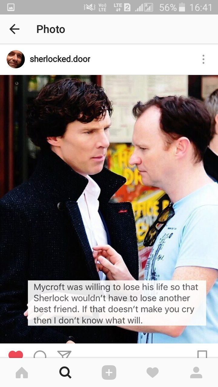 Credit to insta account in screenshot. Johnlock and Mycroft Love