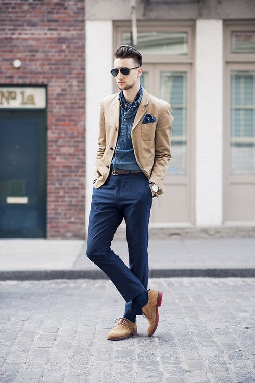 Shop this look for $287:  http://lookastic.com/men/looks/scarf-and-pocket-square-and-denim-shirt-and-belt-and-dress-pants-and-socks-and-derby-shoes-and-blazer/1602  — Navy Print Silk Scarf  — Navy Polka Dot Silk Pocket Square  — Blue Denim Shirt  — Brown Leather Belt  — Navy Dress Pants  — Navy Socks  — Tan Suede Derby Shoes  — Tan Blazer