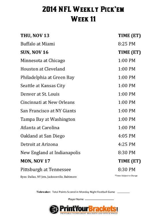 Printable NFL Week 11 Schedule Pick em Office Pool 2014