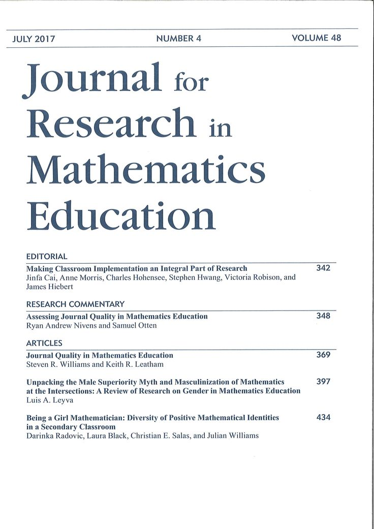 Journal for research in mathematics education. July 2017, vol. 48, nº 4.