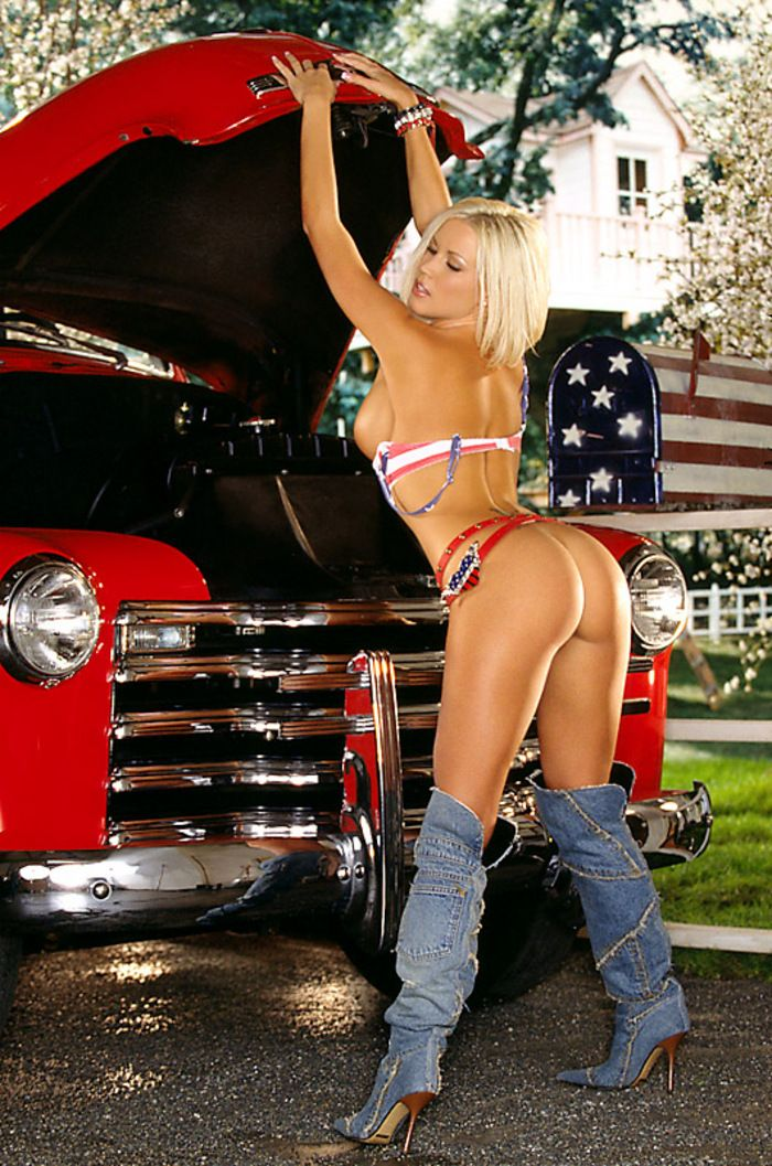 busty topless women on hot rods