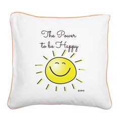 The Power To Be Happy Square Canvas Pillow