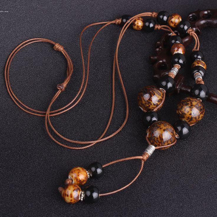 Леопардовый керамические бусины этнические ожерелье, ручной работы, плетеные Jingdezhen керамические украшения старинные длинные подвески свитер ожерелье купить на AliExpress
