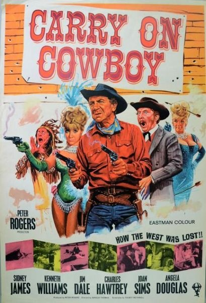 Carry On Cowboy (1966), British One sheet film poster, artwork by Tom Chantrell, starring Kenneth Williams and Sid James #ukauctioneers #cowboys #retro