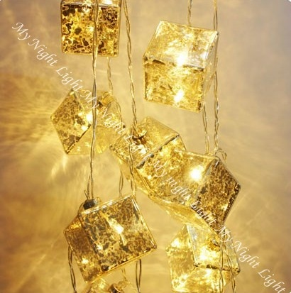 Exquisite Glass Cube string lights,  each illuminated with its own led light!