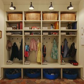 Mudroom: like these lockers because they have logical storage cubbies - top for baskets; miscellaneous cubbies; jacket hooks; shoe cubbies + tubs beneath