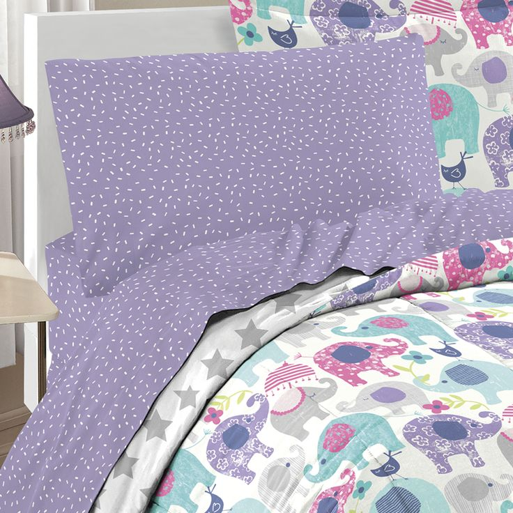 purple pink elephant bedding for girls twin or full bed in a bag comforter and sheet
