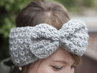 The 1-2-3 Bow Headband is made using 1 ball of yarn, 2 stitches, and is constructed with 3 pieces.