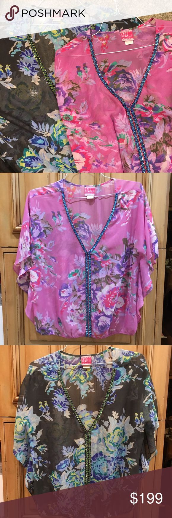 LOT OF 2 Free People Sheer Genius Floral Tops M L Please note there are signs of wear in the seams under the arm pit. Both tops are pulled open. This listing is for 2 tops. The blue is a size large. The pink is a size medium. Flowy fit delicate print top with velvet and sequins detail. Batwing fit. Purchased for $188 each from Free People. LOT CAN BE SPLIT UPON REQUEST. Free People Tops Blouses