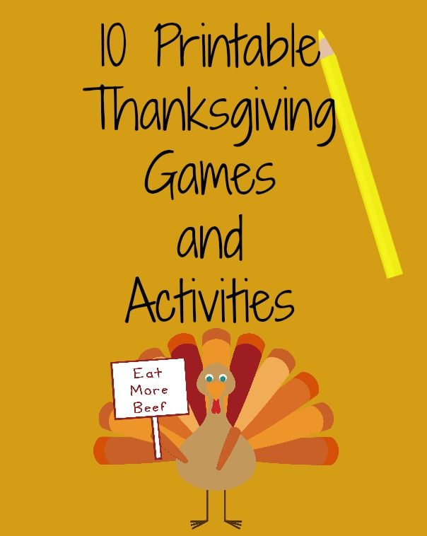 10 FREE Printable Thanksgiving Games and Activities