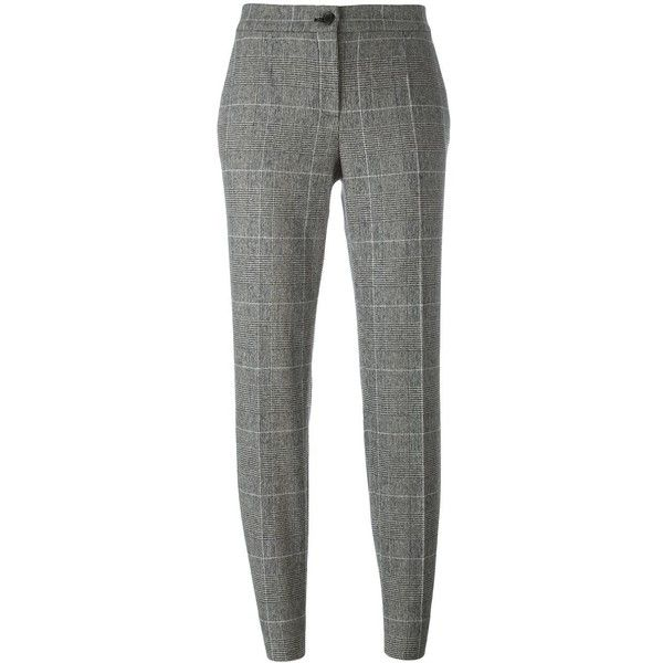 Dolce & Gabbana tweed houndstooth check trousers (€415) ❤ liked on Polyvore featuring pants, black, high waisted cigarette pants, high waisted pants, houndstooth pants, high-waisted pants and high waisted cigarette trousers