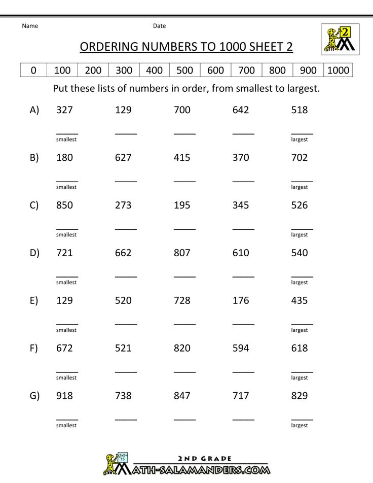 Ordering Numbers To 1000 Ordering Numbers Number Worksheets Counting Worksheets