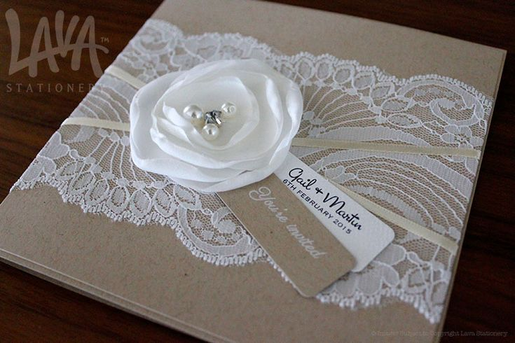 Rustic lace invitation by www.lavastationery.com.au