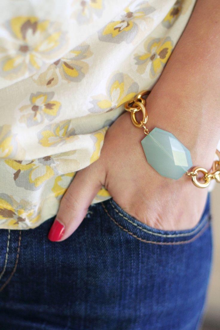 Gold Chain Bracelet with Aqua Mint Charm. $20.00, via Etsy.