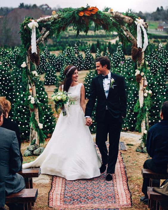 30 Winter Wedding Arches And Altars To Get Inspired: #16. Rustic winter wedding arch of rough wood, fir bracnhes, leaves and pinecones