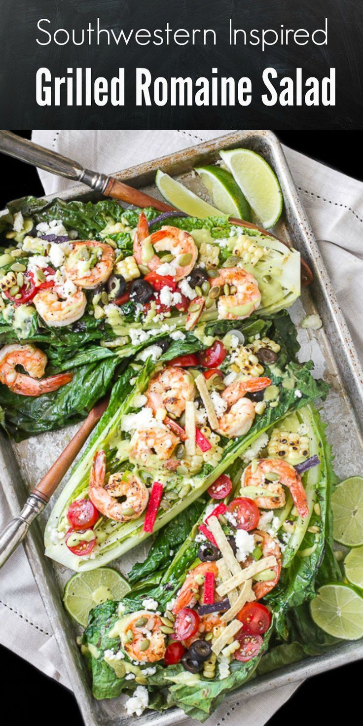 A delicious grilled romaine salad topped with grilled shrimp and corn and other…
