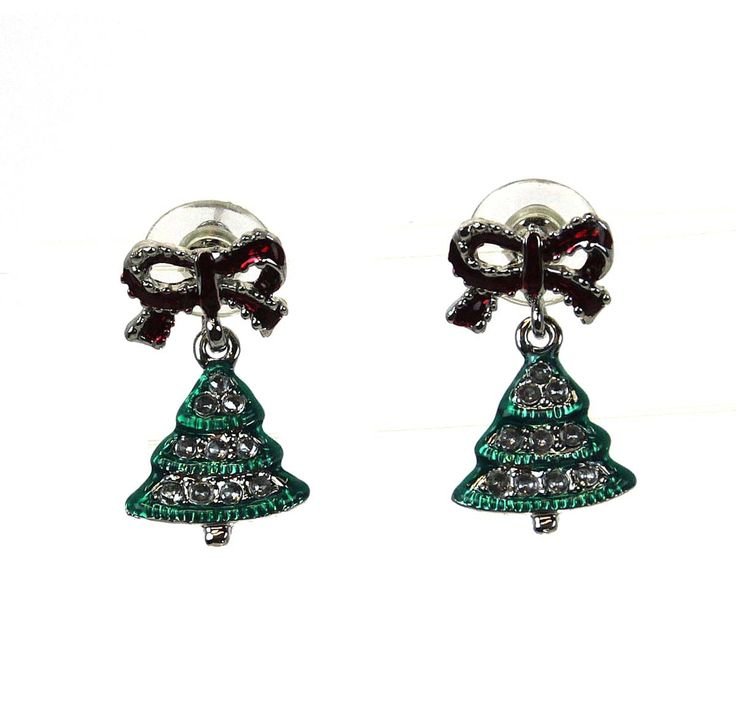 Christmas Tree with Bow Earrings