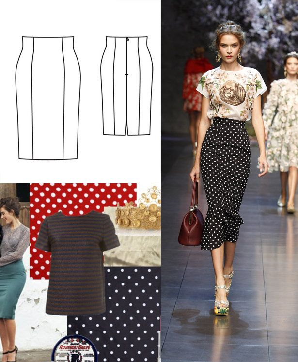 Dolce & Gabbana Spring 2014: high waisted knee-length skirt, black w/ white polka dots, hem flounces - LOVE the look of this skirt.