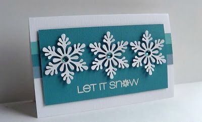 I'm in Haven. Sentiment from CAS-ual Fridays, layered 3 snowflakes for each flake, used versafine & white EP, colored rhinestones. (MS Scandinavian snowflake punch has been disc.)