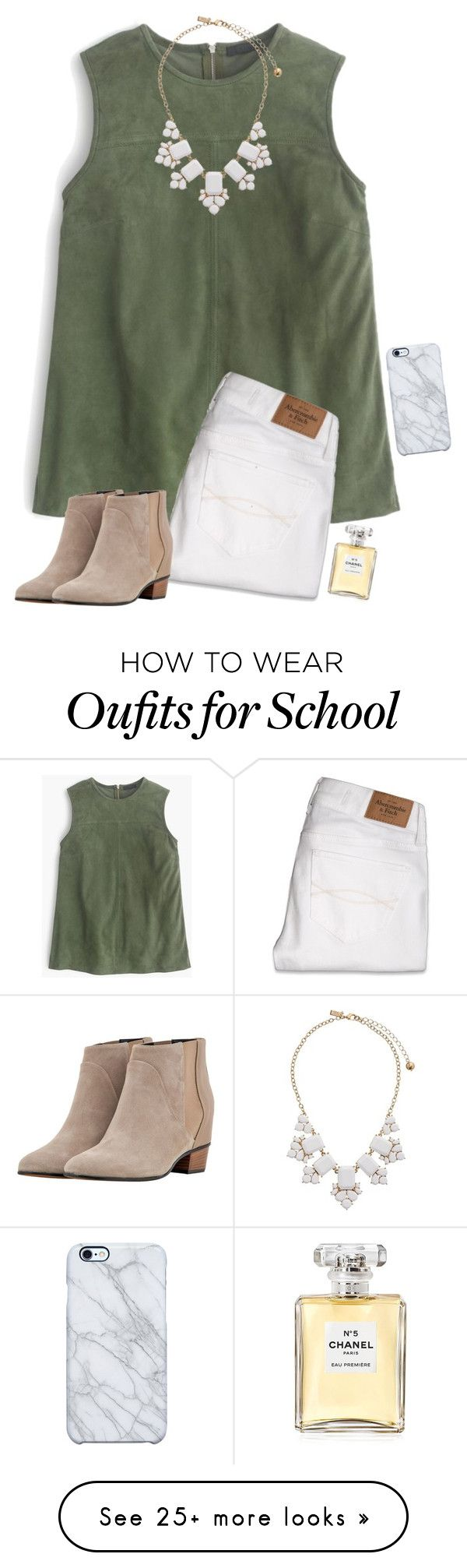"""Ugh, school."" by hopemarlee on Polyvore featuring J.Crew, Abercrombie & Fitch, Golden Goose, Kate Spade, Chanel and Uncommon"