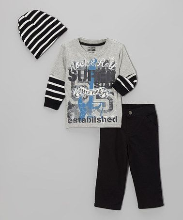 Another great find on #zulily! Gray 'Rock & Roll' Layered Tee Set - Infant & Boys #zulilyfinds