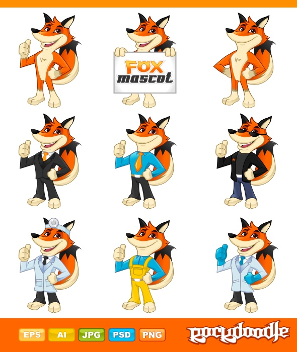 Fox Mascot high-quality detailed available with 9 pose with different professional work costumes.