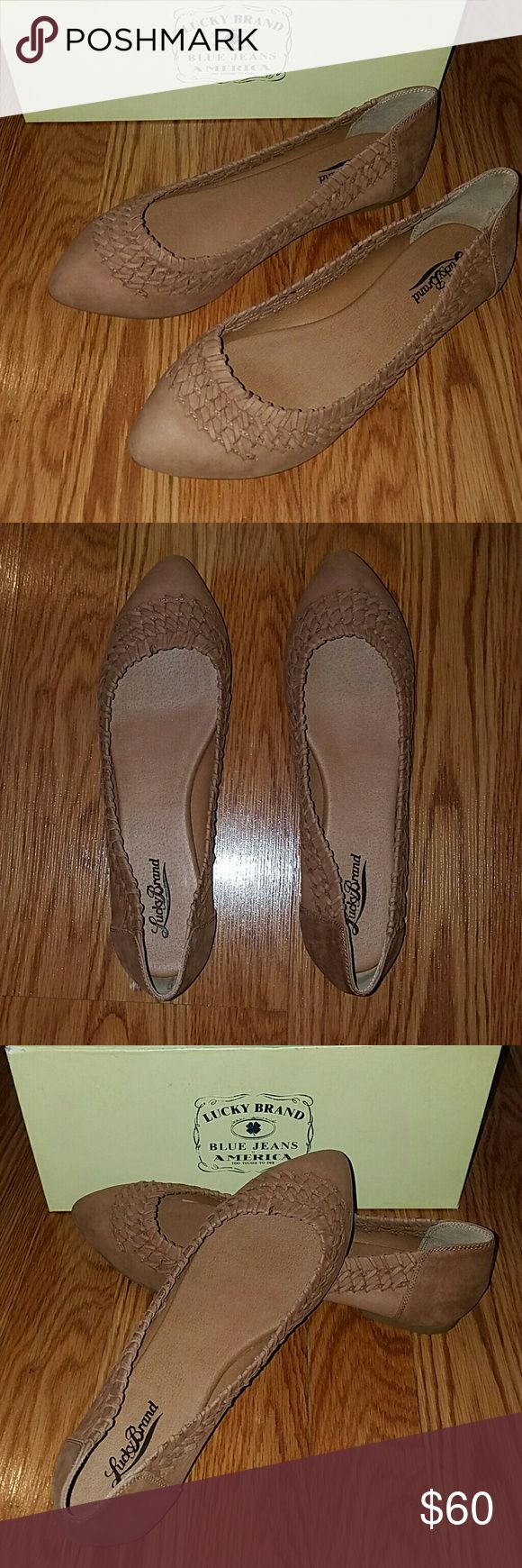 Lucky Brand flats Genuine nubuck leather flats with beautiful weave pattern and almond toe shape in a rich cognac color Lucky Brand Shoes Flats & Loafers