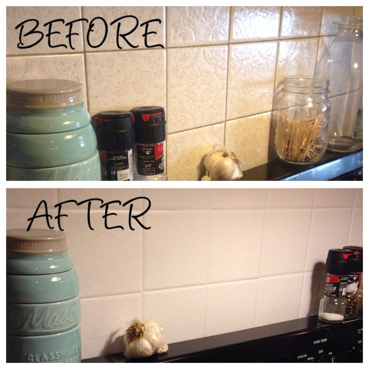 Kitchen backsplash painted over ugly old tile using annie - Ideas para pintar azulejos bano ...