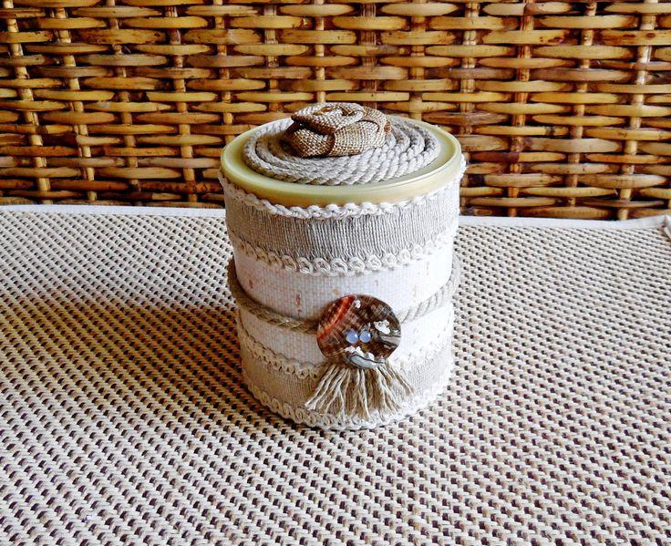 Trinket Box...Chocolate Box...Jewelry Box...Dried Flowers Vase...Fiber Art...Shabby Chic Decorative Box...Beach Style Cottage Chic Box... by AlinasArt on Etsy