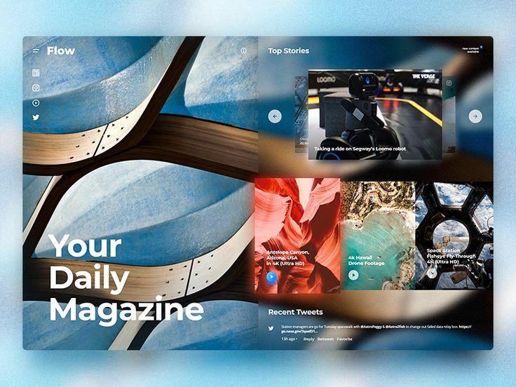 Flow - Fluent Design Magazine Concept. Home page