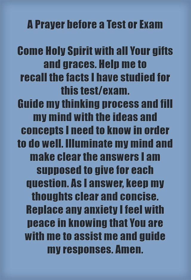 Prayer before an exam.